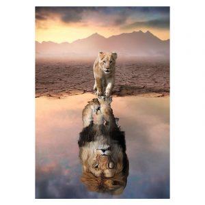 Aluminium Dibond Plexiglas Future Lion botanische jungle dieren poster