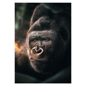 Aluminium Dibond Plexiglas Jungle Gorilla botanische jungle dieren poster