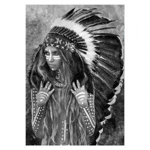 Aluminium Dibond Plexiglas Indiana Women zwart wit poster