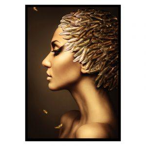 Leaves Women zwart goud poster