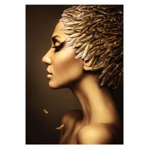 Aluminium Dibond Plexiglas Leaves Women zwart goud poster