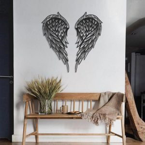 Metalen wanddecoratie - Angle Wings Zwart
