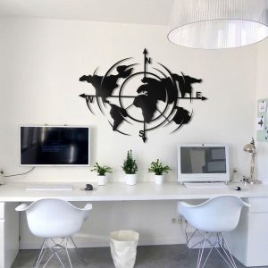 Metalen wanddecoratie - World Map 10
