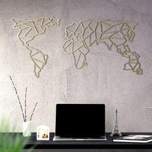 Metalen wanddecoratie - World Map Abstract Goud