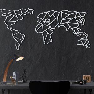 Metalen wanddecoratie - World Map Abstract Wit
