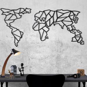 Metalen wanddecoratie - World Map Abstract Zwart