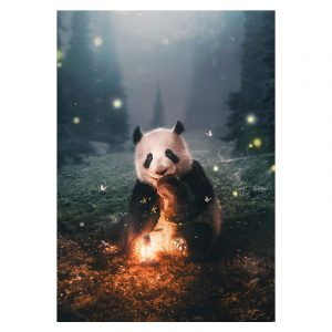 Aluminium Dibond Plexiglas Panda botanische jungle dieren poster