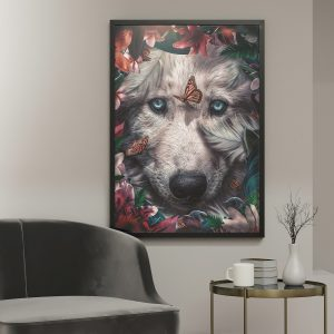 White Wolf poster botanisch jungle dieren