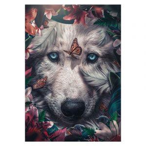 Aluminium Dibond Plexiglas White Wolf botanische jungle dieren poster