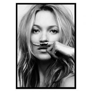 Kate Moss Mustache zwart wit poster
