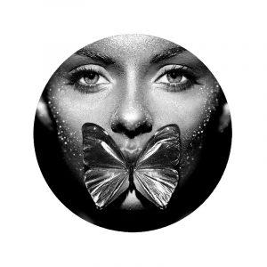 Aluminium Cirkel - Butterfly Women