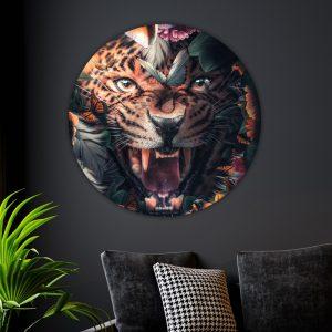 Aluminium Cirkel - Flower Jaguar