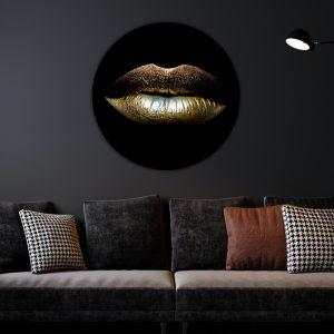 Aluminium Cirkel - Gold Lips
