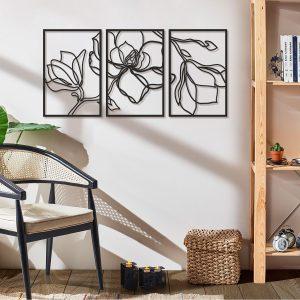 Metalen wanddecoratie - Flower Line