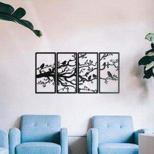 Metalen wanddecoratie - Birds in Tree