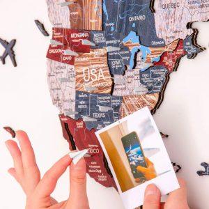 Houten Wereldkaart 3D - Boho