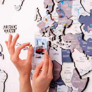 Houten Wereldkaart 3D - Cruise