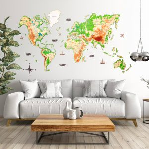 Houten Wereldkaart 3D - Jungle