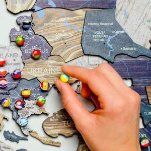 Houten Wereldkaart 3D - Mystery
