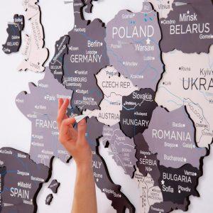 Houten Wereldkaart Europa 3D - Grijs
