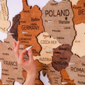 Houten Wereldkaart Europa 3D - Multi
