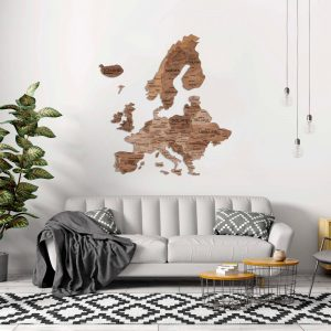 Houten Wereldkaart Europa 3D - Terra