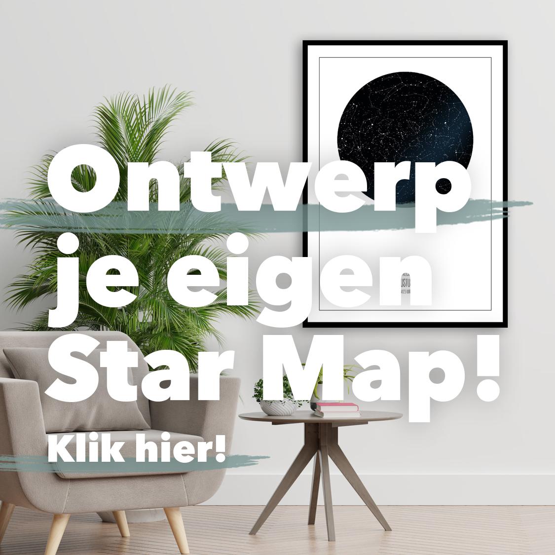 Ontwerp je eigen Star Map Sterrenposter Sterrenhemel