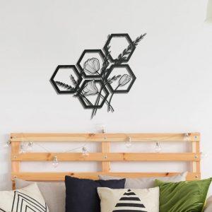 Metalen wanddecoratie - Hexagon