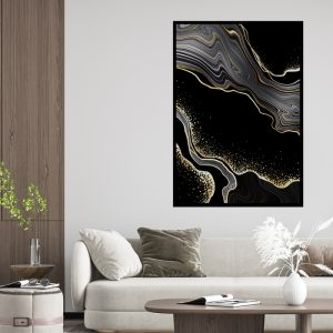 Marble (marmer) Black texture poster
