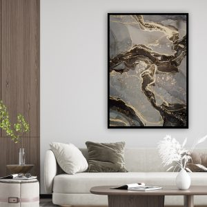 Marble (marmer) Black Grey texture poster