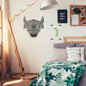 Metalen wanddecoratie - Bull (stier) Lines