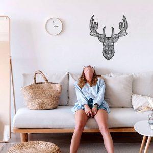 Metalen wanddecoratie - Deer (hert) Lines