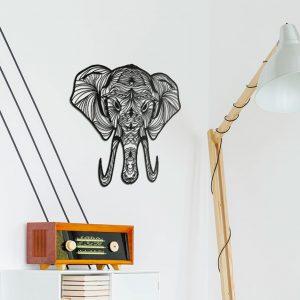 Metalen wanddecoratie - Elephant (olifant) Lines