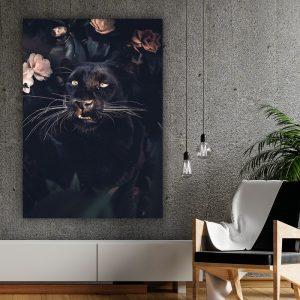 Black Panther Rose poster botanisch jungle dieren