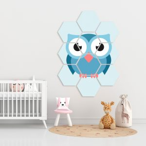 Hexagon - Blue Owl kindercollage