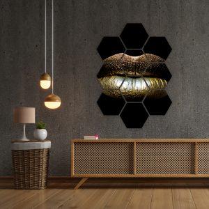 Hexagon - Gold Lips