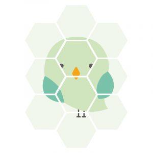 Hexagon - Green Bird kindercollage