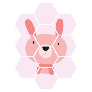 Hexagon - Pink Bunny kindercollage