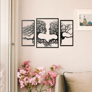 Metalen wanddecoratie - Face Tree
