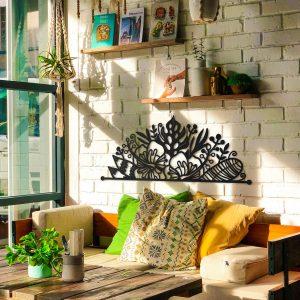 Metalen wanddecoratie - Half Flowers