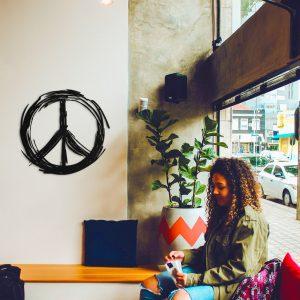 Metalen wanddecoratie - Peace Sign