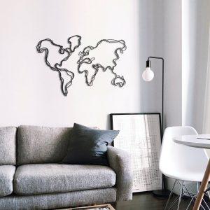 Metalen wanddecoratie - World Map Lines