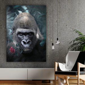 Rose Gorilla poster botanisch jungle dieren