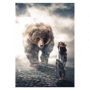 Aluminium Dibond Plexiglas Bear vs Woman botanische jungle dieren poster