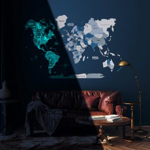 Houten Wereldkaart 3D Glow in the Dark - Aqua