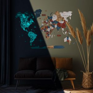 Houten Wereldkaart 3D Glow in the Dark - Boho