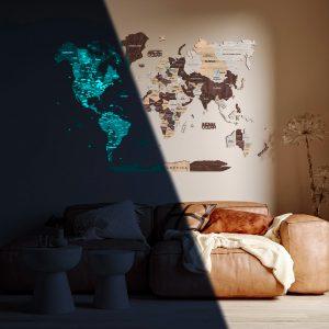 Houten Wereldkaart 3D Glow in the Dark - Cappuccino