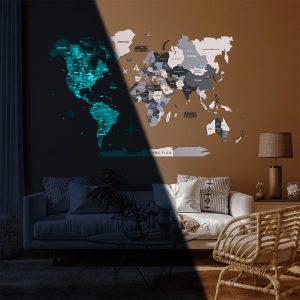 Houten Wereldkaart 3D Glow in the Dark - Grijs