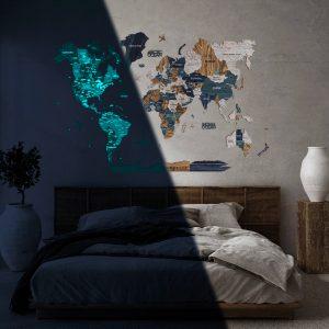 Houten Wereldkaart 3D Glow in the Dark - Mystery