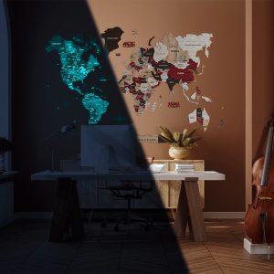 Houten Wereldkaart 3D Glow in the Dark - Urban